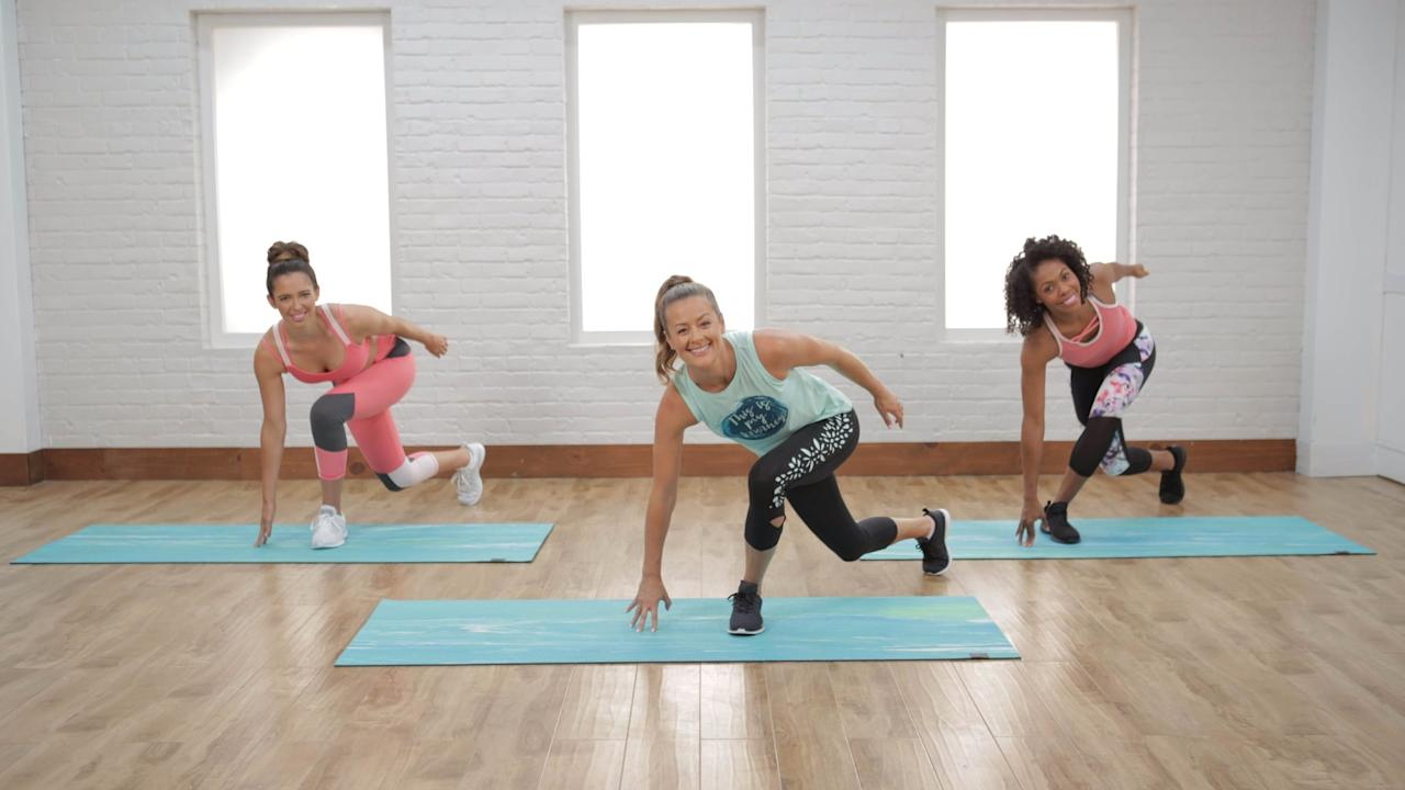 """<p>This <a href=""""https://www.popsugar.com/fitness/20-Minute-Low-Impact-Cardio-Workout-43869542"""" class=""""ga-track"""" data-ga-category=""""Related"""" data-ga-label=""""https://www.popsugar.com/fitness/20-Minute-Low-Impact-Cardio-Workout-43869542"""" data-ga-action=""""In-Line Links"""">20-minute low-impact cardio workout</a> is ideal for small spaces and apartments - no jumping required! You'll work up a sweat and rev your heart rate while taking it easy on your joints.</p>"""