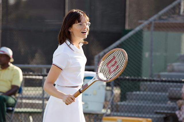 "<p><b>Why it's great: </b>The 1973 tennis match between Billie Jean King (Emma Stone) and self-proclaimed ""male chauvinist pig"" Bobby Riggs (Steve Carell) was a publicity stunt that took on outsize signifiance against the backdrop of the feminist revolution. Jonathan Dayton and Valerie Faris's film captures both the thrill of the game and the astonishing obstacles King had to navigate to win it, while Stone and Carell turn in two of their finest performances.<br><b>Nomination it deserves: </b>Best Actress — Emma Stone<br>(Photo: Melinda Sue Gordon, Fox Searchlight Pictures/Courtesy of Everett Collection) </p>"