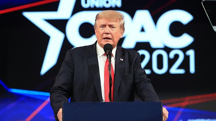 Former U.S. President Donald Trump speaks during the Conservative Political Action Conference (CPAC) in Dallas, Texas, U.S., on Sunday, July 11, 2021. (Dylan Hollingsworth/Bloomberg via Getty Images)