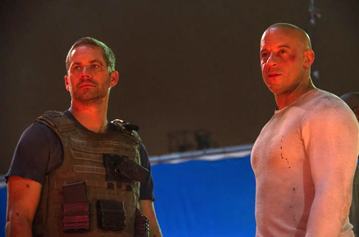 Paul Walker and Vin Diesel filming 'Fast and Furious 7'