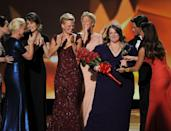 <p>In 2011, the female actresses nominated for Outstanding Lead Actress in a Comedy Series category did a perfect bit: as Rob Lowe read the names of the nominees, each nominee walked up to stand on stage next to him, starting with Amy Poehler. As they did their pageant bit, Lowe clearly had no idea what was going on, which made it even funnier. The women stood in a line, holding hands and hugging, then gave Melissa McCarthy a bouquet of flowers and a tiara when she won. <br></p>