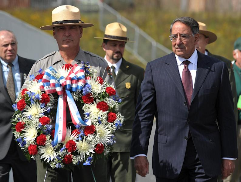 Defense Secretary Leon Panetta lays a wreath at the Flight 93 National Memorial during ceremonies commemorating the 11th anniversary of the 9/11 attacks, Monday, Sept. 10, 2012, in Shanksville, Pa. (AP Photo/Mandel Ngan, Pool)
