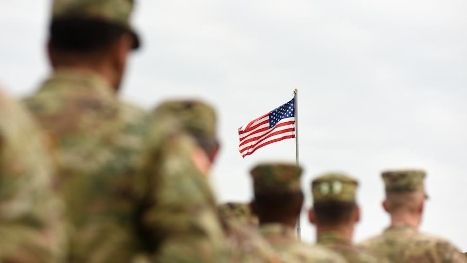 American Soldiers and US Flag.