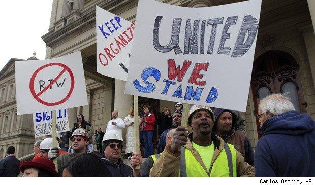Lansing, Michigan right to work protest