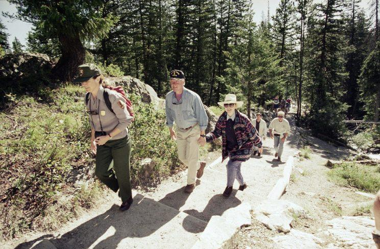 Hillary and Bill Clinton hiked throughout Grand Teton National Park, Wyoming, on a family vacation in 1995. (Photo: AP Photo/Doug Mills)