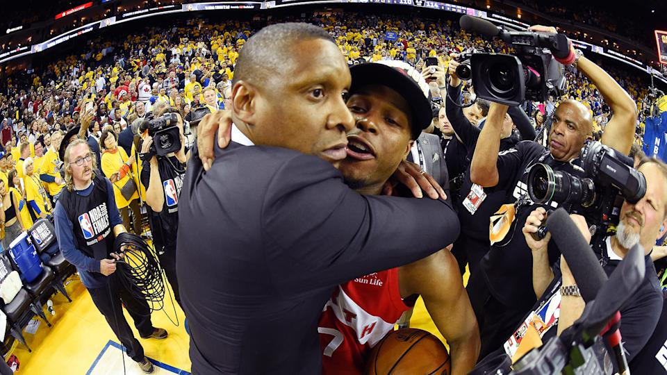 Masai Ujiri and Kyle Lowry celebrate after Game 6 of the NBA Finals against the Golden State Warriors. (Photo by Andrew D. Bernstein/NBAE via Getty Images)