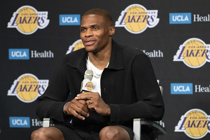 Russell Westbrook speaks during his first news conference as a Laker in August.