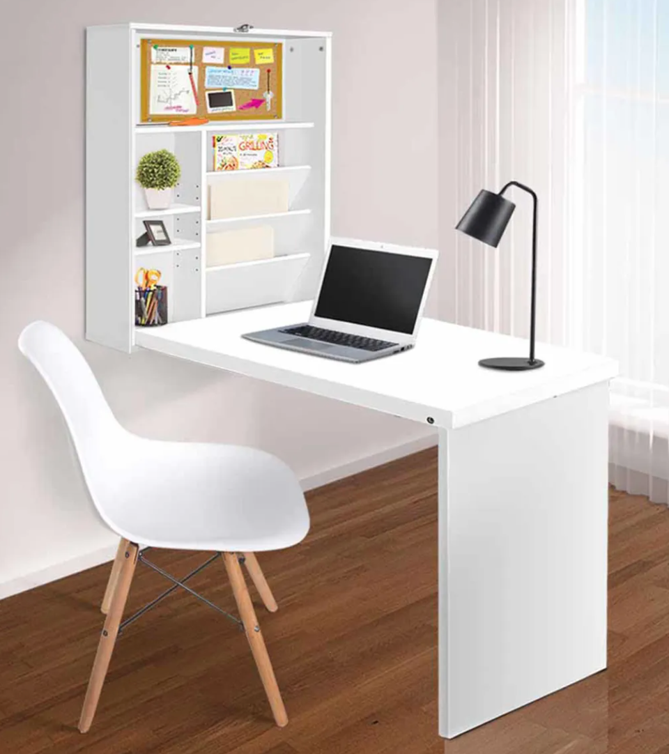wall mounted desk that folds up into a small cabinet