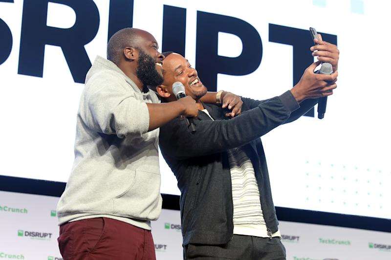 SAN FRANCISCO, CALIFORNIA - OCTOBER 02: (L-R) Socionado Founder Kofi Frimpong and Will Smith attend TechCrunch Disrupt in support of GEMINI MAN on October 2, 2019 in San Francisco, CA. (Photo by Kelly Sullivan/Getty Images for Paramount Pictures)