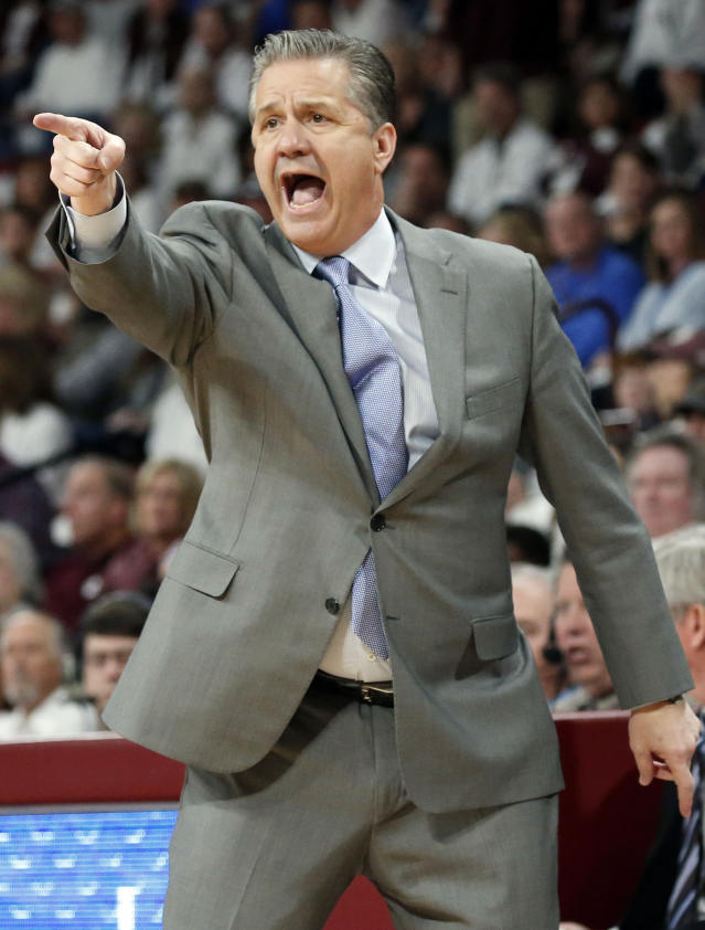 Kentucky head coach John Calipari calls out to his team during the second half of an NCAA basketball game against Mississippi State in Starkville, Miss., Saturday, Feb. 9, 2019. Kentucky won 71-67. (AP Photo/Rogelio V. Solis)