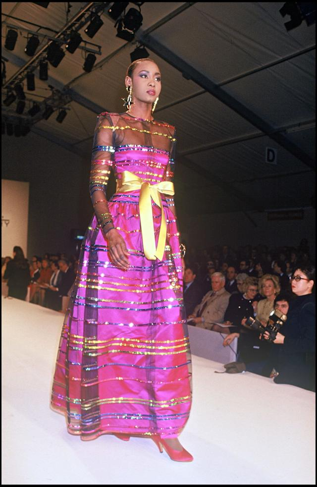 A model walks the runway at Givenchy's fall/winter 1991-1992 show.