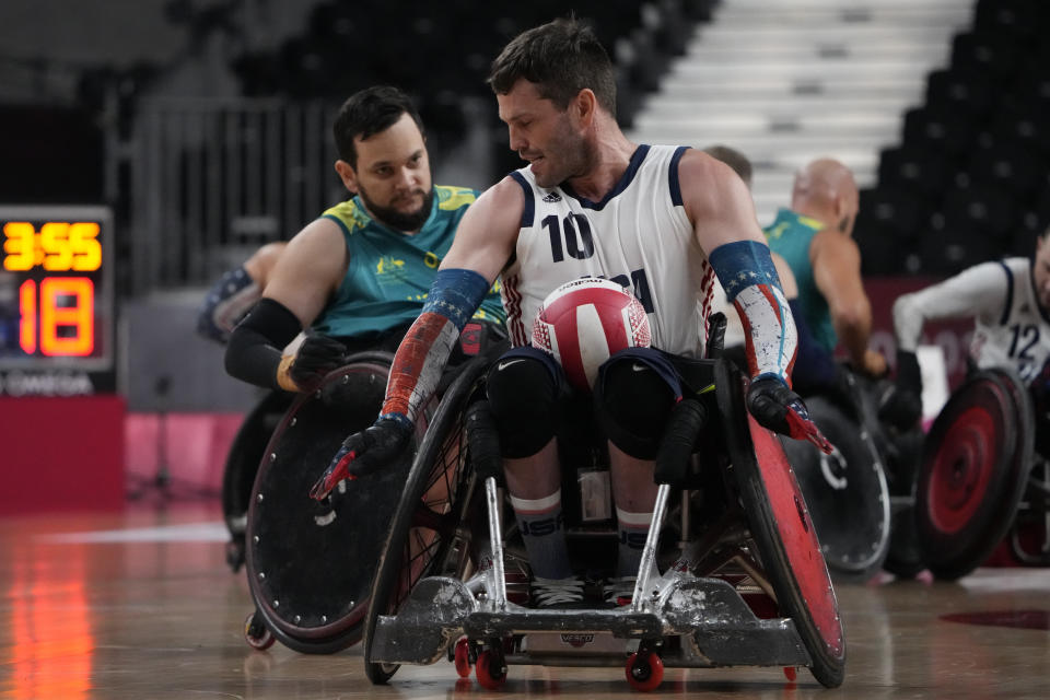 United States' Joshua Wheeler competes during a semifinal wheelchair rugby match against Australia at the Tokyo 2020 Paralympic Games, Saturday, Aug. 28, 2021, in Tokyo, Japan. (AP Photo/Kiichiro Sato)