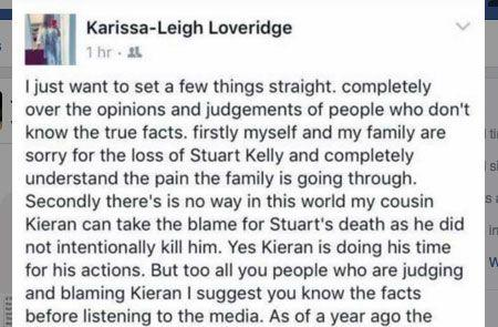 Karissa-Leigh Loveridge's post which has since been deleted. Source: Facebook