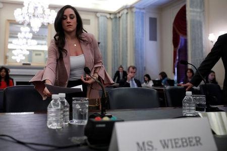 "Olympic gymnast Jordyn Wieber arrives to testify at a Senate Commerce subcommittee hearing entitled ""Olympic Abuse: The Role of National Governing Bodies in Protecting Our Athletes"" on Capitol Hill in Washington, U.S., April 18, 2018. REUTERS/Aaron P. Bernstein"