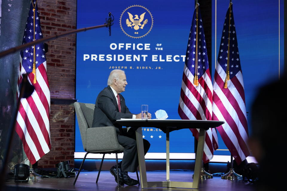 President-elect Joe Biden participates in a meeting with the National Governors Association's executive committee at The Queen theater, Thursday, Nov. 19, 2020, in Wilmington, Del. (AP Photo/Andrew Harnik)