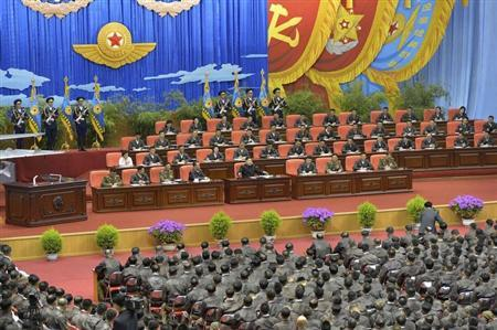 North Korean leader Kim Jong Un speaks while presiding over the first meeting of the airpersons of the Korean People's Army in Pyongyang