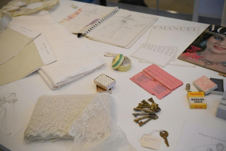 Archive material featured in the exhibition includes the keys to the safe where Diana's dress was kept at night