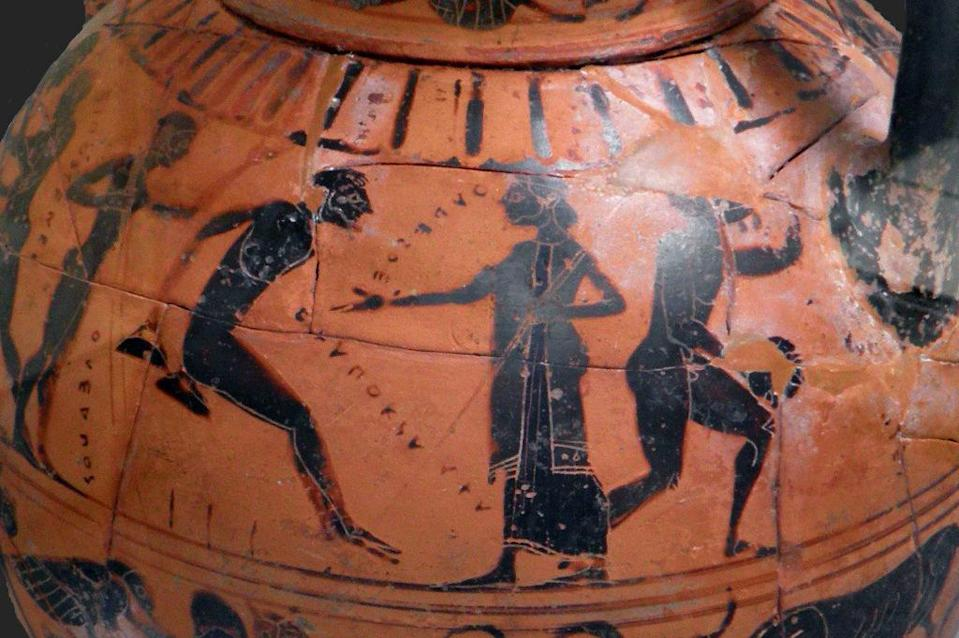 Olympic long jumping on an ancient Greek vase
