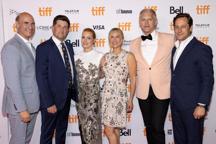 TORONTO, ONTARIO - SEPTEMBER 12: (L-R) President of Production at Searchlight Pictures Matthew Greenfield, Michael Showalter, Jessica Chastain, Rachel Shane, Abe Sylvia, President of Production at Searchlight Pictures David Greenbaum attend