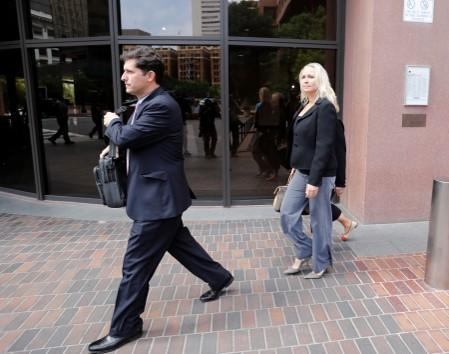 U.S. Rep. Duncan Hunter's wife Margaret Hunter leaves the federal court in San Diego