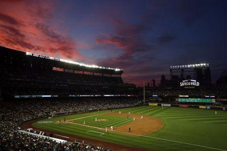 Aug 10, 2015; Seattle, WA, USA; An overall view of Safeco Field during the fifth inning of a game between the Baltimore Orioles and Seattle Mariners. Mandatory Credit: Joe Nicholson-USA TODAY Sports