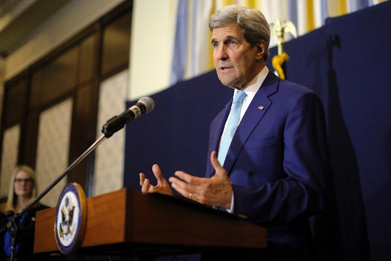 US Secretary of State John Kerry speaks at a news conference in Sharm el-Sheikh, Egypt, on March 14, 2015, a day after the Egypt Economic Development Conference