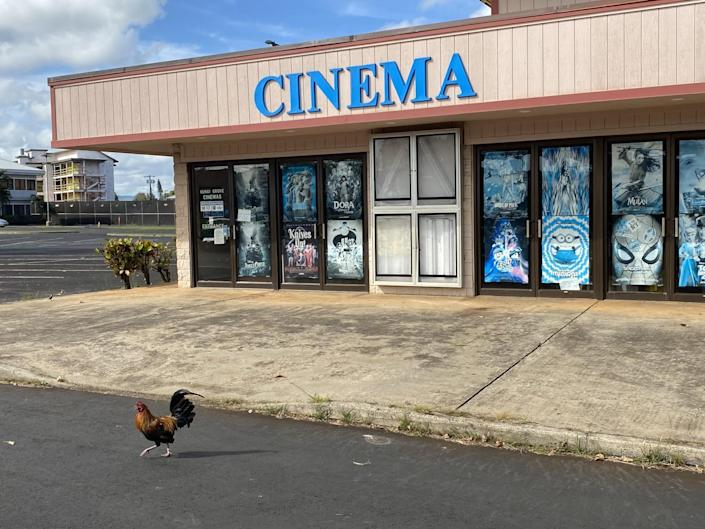 """A building with the sign """"Cinema"""" amid a deserted parking lot."""