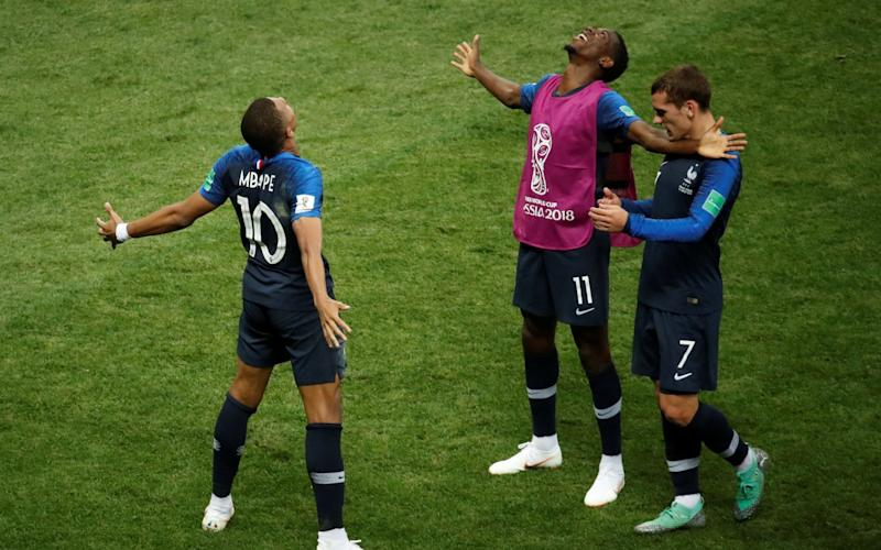 Kylian Mbappe celebrates his goal as France triumph in Moscow - REUTERS