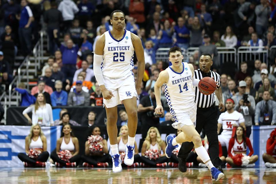 KANSAS CITY, MISSOURI - MARCH 29: PJ Washington #25 of the Kentucky Wildcats and Tyler Herro #14 react during the second half against the Houston Cougars during the 2019 NCAA Basketball Tournament Midwest Regional at Sprint Center on March 29, 2019 in Kansas City, Missouri. (Photo by Jamie Squire/Getty Images)