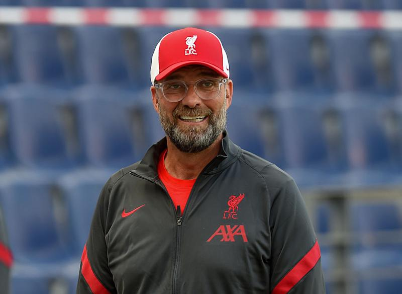 SALZBURG, AUSTRIA - AUGUST 25: (THE SUN OUT. THE SUN ON SUNDAY OUT) Jurgen Klopp manager of Liverpool is interviewed before the pre-season friendly match between Liverpool and Salzburg at The Red Bull Stadium on August 25, 2020 in Salzburg, Austria. (Photo by John Powell/Liverpool FC via Getty Images)