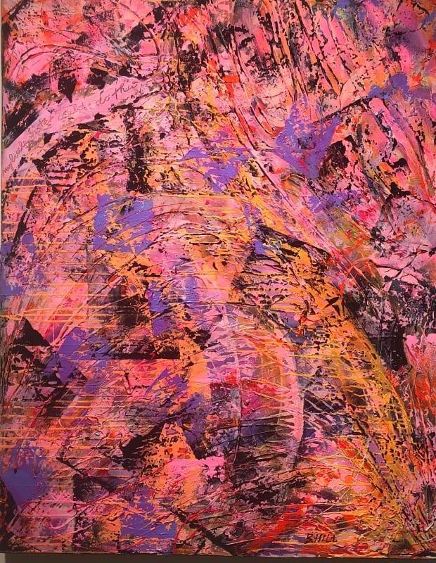 This painting by Saint John artist Bonny Hill is titled 'My Sister Could Do That.' The title is a play on people saying abstract art is less technically challenging.