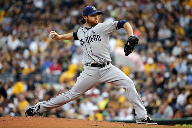 San Diego Padres starting pitcher Ian Kennedy delivers during the first inning of a baseball game against the Pittsburgh Pirates in Pittsburgh, Friday, Aug. 8, 2014. (AP Photo/Gene J. Puskar)