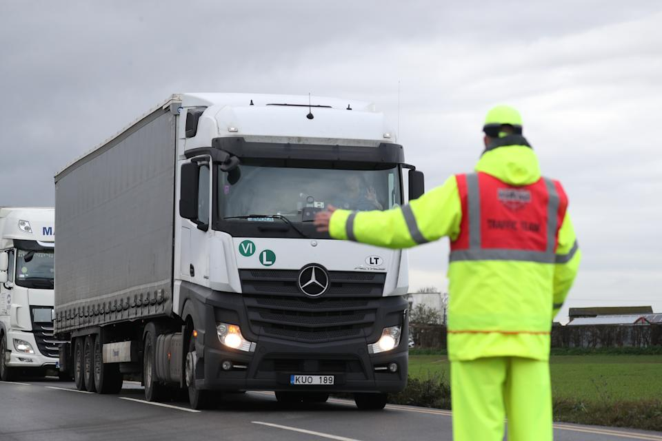 Freight lorry directed into Manston Airport, Kent, after France imposed a 48-hour ban on entry from the UK in the wake of concerns over the spread of a new strain of coronavirus. (Photo by Andrew Matthews/PA Images via Getty Images)