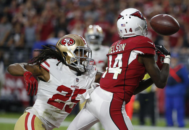 FILE - In this Oct. 28, 2018, file photo, San Francisco 49ers cornerback Richard Sherman (25) defends on a pass to Arizona Cardinals' JJ Nelson during an NFL football game in Glendale, Ariz. Sherman had a strong season in his first year in San Francisco, showing that he had recovered from an Achilles' tendon injury that ended his 2017 season early. (AP Photo/Rick Scuteri, File)