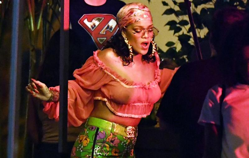 Rihanna left very little to the imagination on Monday, flashing some serious flesh in a see-through top during the filming of a music video with DJ Khaled. Source: Instar
