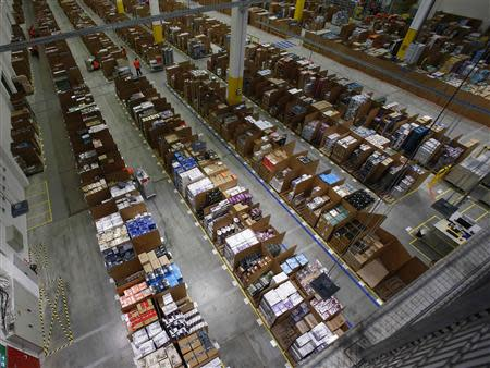 General view of the storage hall at warehouse floor in Amazon's new distribution center in Brieselang
