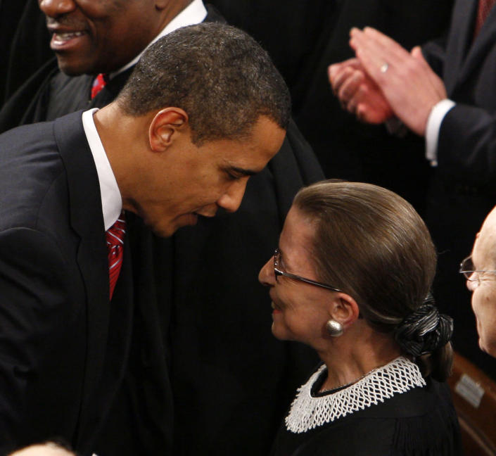 Obama greets Justice Ginsburg prior to his address before a joint session of Congress. (Photo: Charles Dharapak/AP)