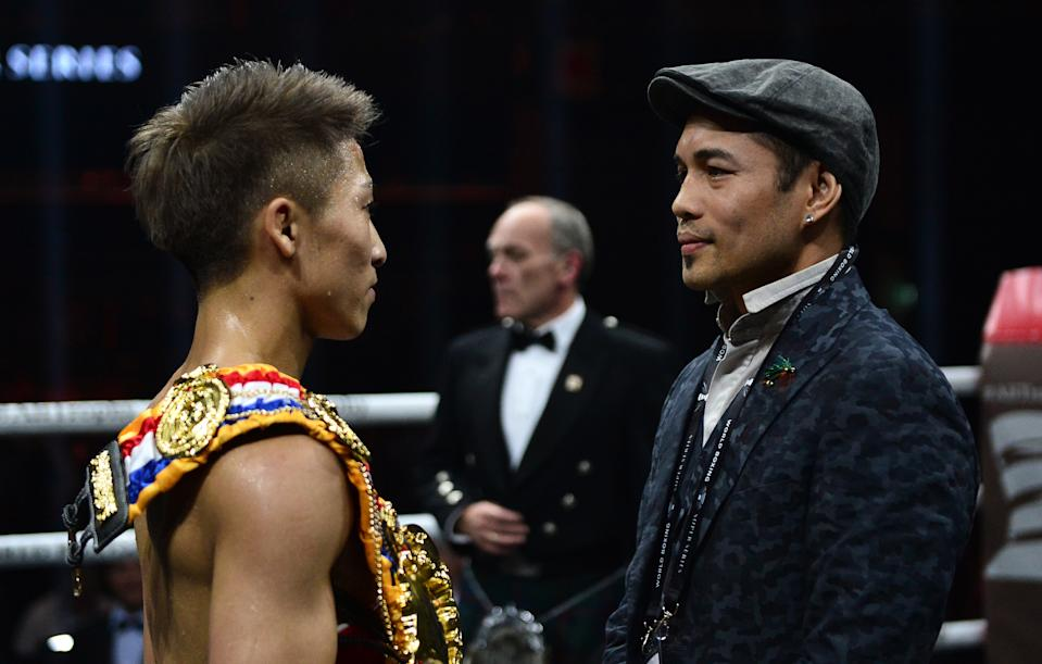 GLASGOW, SCOTLAND - MAY 18: Naoya Inoue of Japan (R), is congratulated by his opponent for the final of the series Nonito Gonzales Donaire of Philippines after beating Emmanuel Rodriguez of Puerto Rico during the WBSS Bantamweight Semi Final IBF World Championship fight at the  Muhammad Ali Trophy Semi-Finals - World Boxing Super Series Fight Night at The SSE Hydro on May 18, 2019 in Glasgow, Scotland. (Photo by Mark Runnacles/Getty Images)