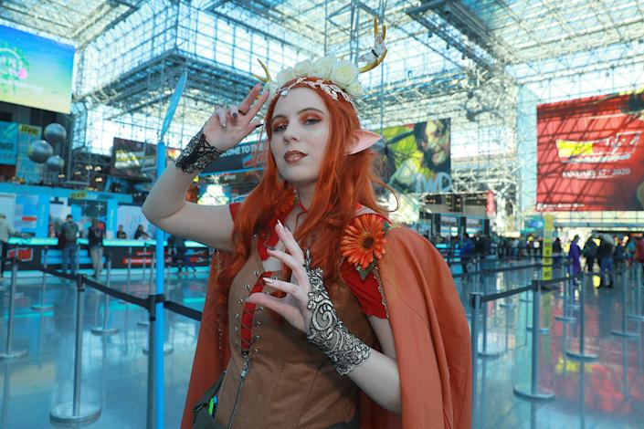 Tony from New Jersey dressed as a character Keyleth from Critical Role arrives for the third day of the 2019 New York Comic Con at the Jacob Javits Center on Oct. 5, 2019. (Photo: Gordon Donovan/Yahoo News)