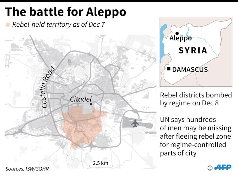 Map of Aleppo locating rebel-held area (AFP Photo/-)