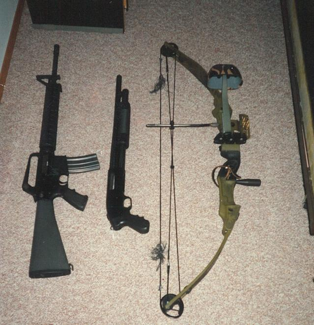 Chuck Leek's old weapon arsenal included an AR-15 rifle, a Mossberg pistol-grip shotgun and a bow. (Photo: Chuck Leek)