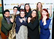 <p>Ahmed Bharoocha, Mary Holland, Betsy Sodaro, Dot-Marie Jones, Maureen Bharoocha, Dawn Luebbe and Kate Flannery show off their golden arms at the <em>Golden Arm</em> L.A. premiere on Monday. </p>