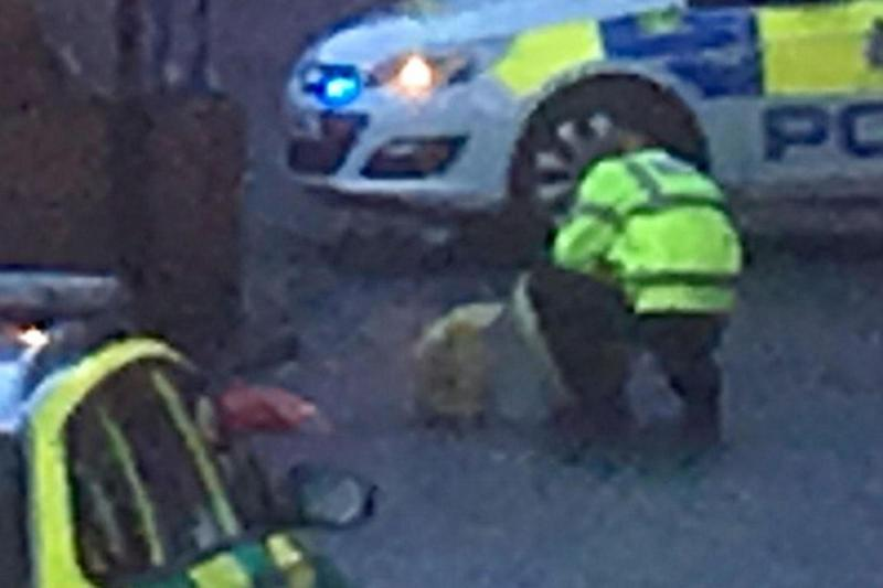The police officer investigating the red bag at the scene