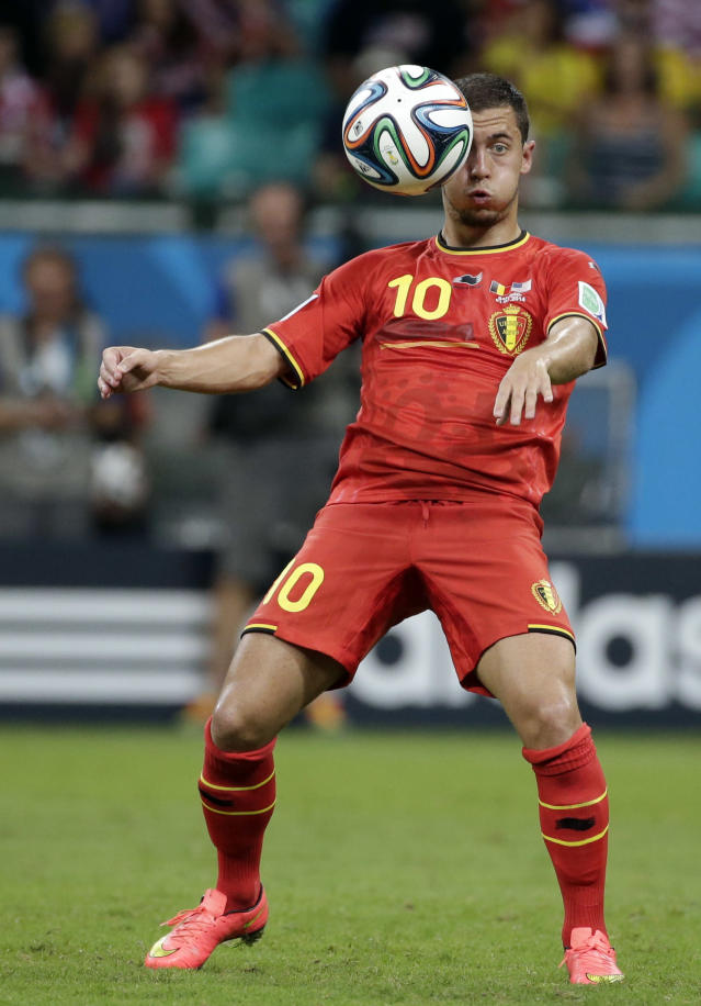 Belgium's Eden Hazard controls the ball during the World Cup round of 16 soccer match between Belgium and the USA at the Arena Fonte Nova in Salvador, Brazil, Tuesday, July 1, 2014. (AP Photo/Felipe Dana)
