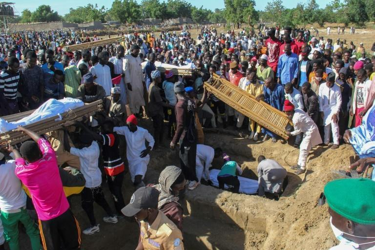 Forty-three farm workers and buried at a mass funeral after the Boko Haram attack in northeastern Nigeria