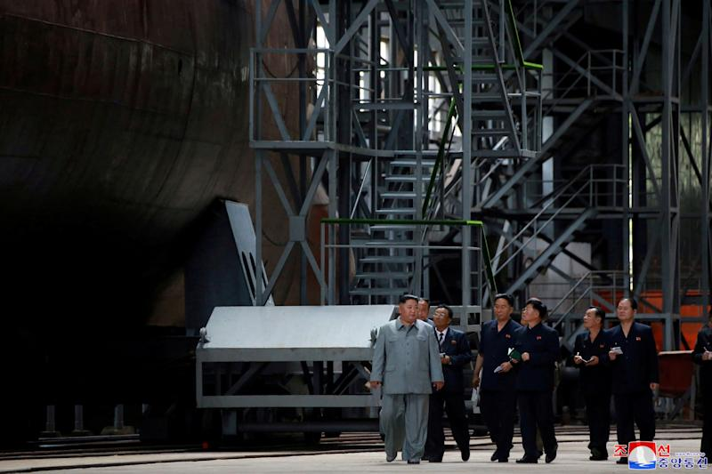North Korean leader Kim Jong Un visits a submarine factory in an undisclosed location in this undated picture released by North Korea's state-run Central News Agency (KCNA) on Tuesday. (Photo: KCNA / Reuters)