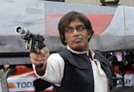 "<p>Oh, and you can't forget about Al, who made the perfect Han Solo (fun fact, <a href=""https://www.today.com/slideshow/today-s-star-wars-halloween-2009-33549437"" rel=""nofollow noopener"" target=""_blank"" data-ylk=""slk:he's wearing"" class=""link rapid-noclick-resp"">he's wearing</a> Harrison Ford's original blaster, belt, and holster from the <em><a href=""https://www.amazon.com/Star-Wars-Digital-film-Collection/dp/B00VJ04TH0/ref=sr_1_1?keywords=star+wars&qid=1569275419&s=gateway&sr=8-1&tag=syn-yahoo-20&ascsubtag=%5Bartid%7C10055.g.29193412%5Bsrc%7Cyahoo-us"" rel=""nofollow noopener"" target=""_blank"" data-ylk=""slk:Star Wars"" class=""link rapid-noclick-resp"">Star Wars</a></em> original trilogy). </p>"