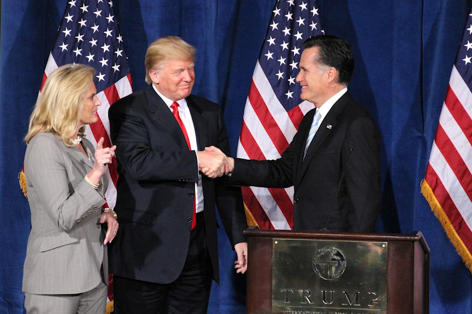 In 2012, Donald Trump endorsed Mitt Romney for president in Las Vegas. (mpi88/MediaPunch Inc./IPX via AP)