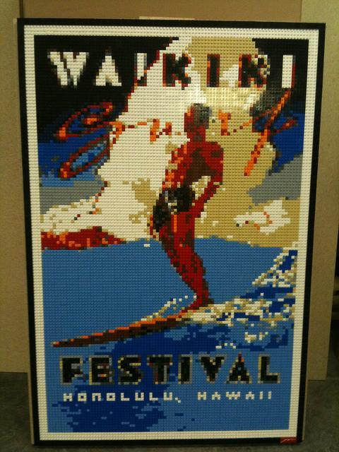 Lego mosaic of a poster from the Waikiki Festival by Dave Ware