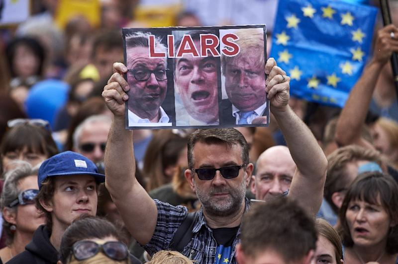 A woman holds up a placard depicting Michael Gove, Nigel Farage and Boris Johnson as liars as thousands of protesters take part in a march for Europe, through the centre of London on July 2, 2016, to protest against Britain's vote to leave the EU (AFP Photo/Niklas Halle'n)